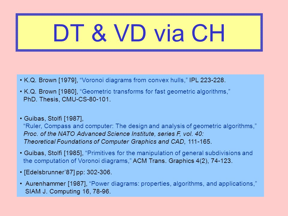 DT & VD via CH K.Q. Brown [1979], Voronoi diagrams from convex hulls, IPL 223-228.